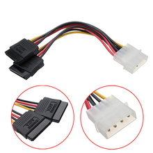 1Pcs 4 Pin SATA to 2 15 Pin IDE ATA Y splitter Converter Molex HDD Power Cable Cord Adapter Serial