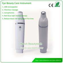 Mini USB Eye Massager Vibration Massage Ionic Bio Light Eye Pouch Dark Circles Therapy Eye Beauty Instrument with Holder