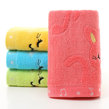 Lightweight soft and durable 37*74cm Bamboo Fiber Solid Color Non-twist Towels with Cats Patterns Style Towels