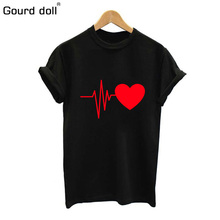 Gourd doll 2018 cotton Love print womens T-shirt Summer t shirt casual multicolor pattern funny shirt ladies top tee fashion(China)
