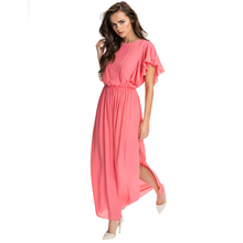 Cheap Women A-line Long Dress O-neck Short Sleeve Side Slit Plus Size Sexy Chiffon Coral Maxi Dresses New Fashion