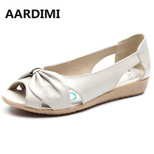 AARDIMI Big Size Genuine Leather Sandals Women Flats Solid Casual Women Shoes Flats Summer Sandals Women vintage Sandalias Mujer