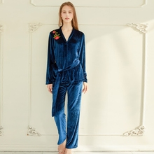 Women Spring and Autumn Classic Luxurious and Noble Velvet Embroidery Lovers Sleepwear Pajama Sets Pants Twinset(China)