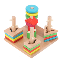 Kids Toys Colorful Wooden Building Blocks Column Baby Geometry Cognitive Matching Toys Beech Five Column Suit Blocks(China)