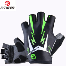 X-Tiger 3D GEL Pad Bright Green Sport Gloves With Reflective Half Finger MTB Bike Gloves Cycling Gloves Mountain Bicycle Gloves(China)