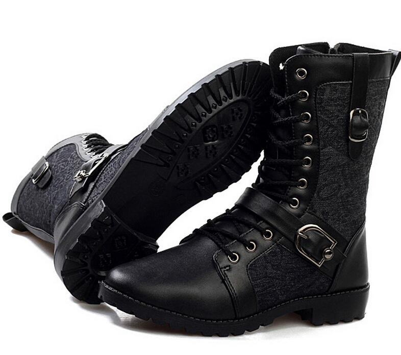High Quality Male Fashion Retro Punk Combat boots Winter