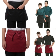 4 Style Universal Unisex Kitchen Cooking hotel chef aprons chef uniforms Waist Apron Short Apron Waiter Apron with Pockets(China)