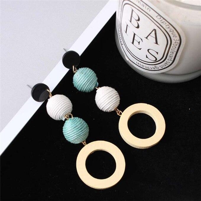 Fashion Korean Net Red Earrings Girls Retro Temperament Linen Hemp Rope Hit Color Ball Earrings Round Circle Wood Earring 14