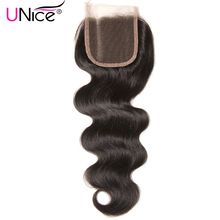 UNICE HAIR Three Part Lace Closure 100% Brazilian Hair Body Wave  Closure Swiss Lace Non-Remy Human Hair 1 Piece 10-20""