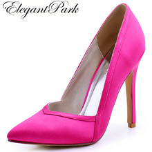 Woman Hot Pink High Heel Wedding Shoes Pointed Toe Satin Bride Bridesmaid Evening Party Pumps HC1603 Navy Blue Black burgundy(China)