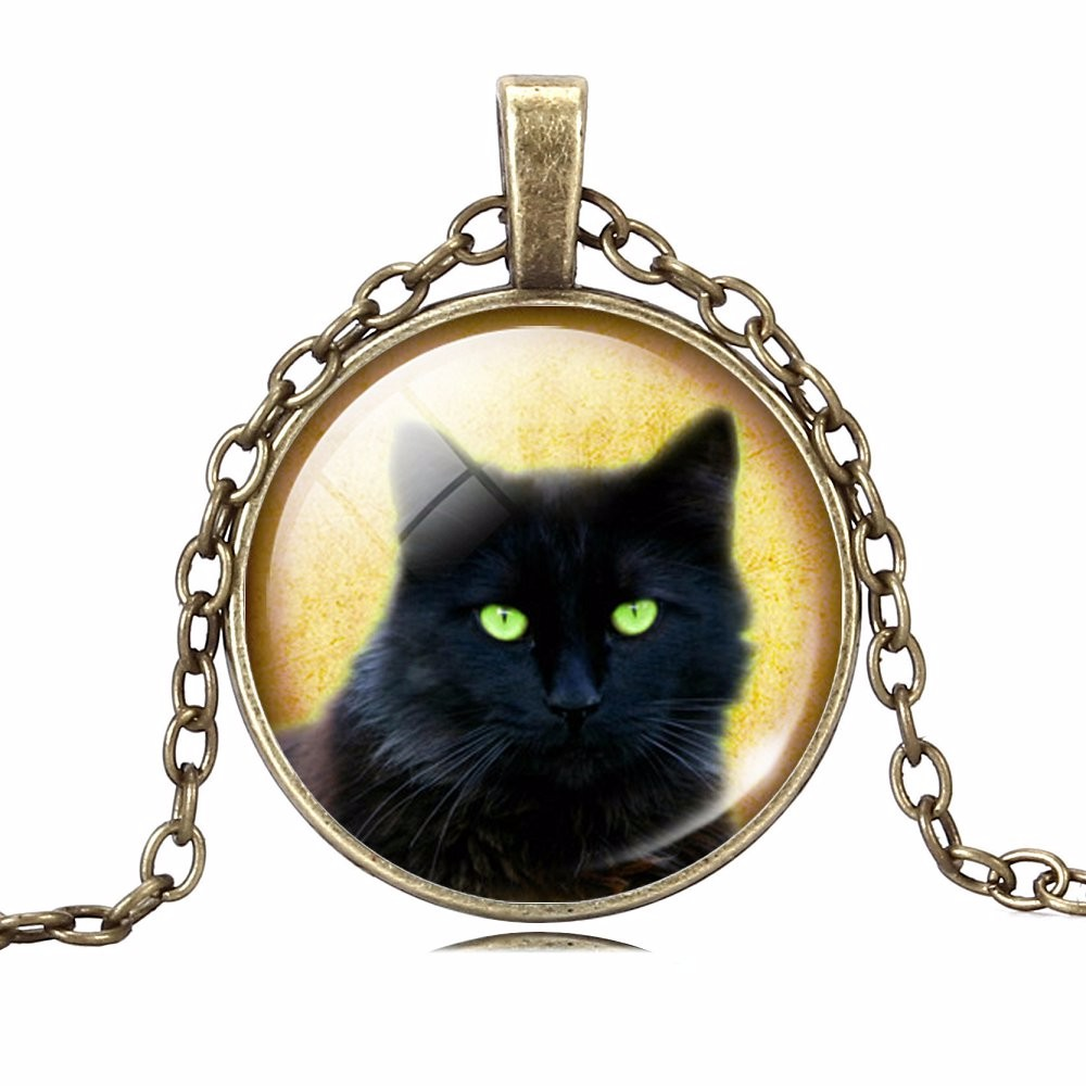 UNIQUE NECKLACE GLASS CABOCHON-SILVER BRONZE CHAIN NECKLACE BLACK CAT PICTURE VINTAGE PENDANT NECKLACE-Cat Jewelry-Free Shipping UNIQUE NECKLACE GLASS CABOCHON-SILVER BRONZE CHAIN NECKLACE BLACK CAT PICTURE VINTAGE PENDANT NECKLACE-Cat Jewelry-Free Shipping HTB1V1e MpXXXXaFXpXXq6xXFXXXz