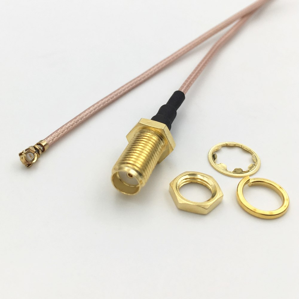 """RP SMA Female Male Pin to IPX U.FL IPEX 1.13 Cable Pigtail 6/"""" 15cm Nut Bulkhead#"""