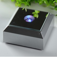 78mm Silver Square LED Light Stand Base for Jewelry Watch Laser Crystal Display