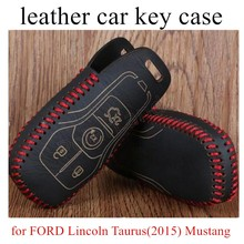 hot sale Hand sewing car key case cover Genuine quality leather fit for FORD Lincoln Taurus(2015) Mustang Explorer(2016)