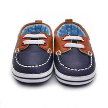 Fashion Boys Baby PU Leather Laces Up Crib Shoe Anti-Slip Prewalkers 0-18 Month LH7s(China)