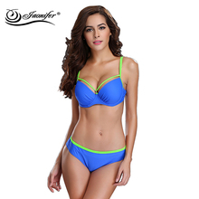 JAONIFER Set Swimwear Push Up BIkini Swimming Big Cup Swimsuit Halter Top Women Sexy Swimming Bathing Suit Brazilian Biquini