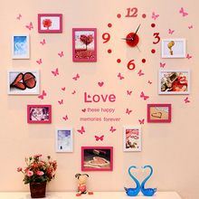 Living room photo frames wall decoration photo frame combiantion home decor clock