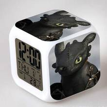Anime Figurines DreamWorks How to Train Your Dragon 2 Colorful Flash Touch light Alarm Clock Cartoon Figure Kids Toys