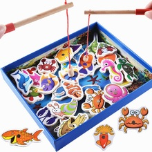 32Pcs Baby Educational Toys Fish Wooden Magnetic Fishing Toy Set Game Educational Toy Birthday Christmas Gifts For Children(China)
