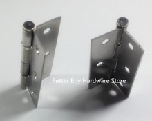 "2pcs Length 2.5""  Thickness 1.2mm Silver Tone Stainless Steel Cabinet Door Butt Hinges"