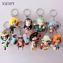 XIESPT 9pcs/set Anime One Piece Figure Keychain Assembly Leisure Life Pirates Group Full Set Model Toy