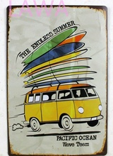 1pc SURFING BOARD summer beach plaques Tin plate commercial vintage tin endless summer Beach Sign  Wall Decoration surf Poster