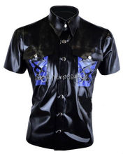 Buy new arrival latex men shirt lingerie sexy hot exotic lenceria cekc fetish spliced uniform lacing tops costumes catsuit