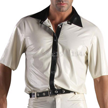 Short Sleeve Men Latex Shirt Sexy White Colour Turn-down Collar Rubber Top LSM047