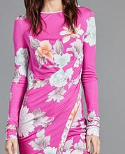 2017 Spring New Chic Fashion Italy Style Women Floral Print Pleated Long Sleeve Bright Pink Dress Bodycon Stretchy Dress Plus