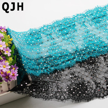 22cm Width 3m/lot QJH Black Eyelashes Lace Trim Flower Blue Sequined Embroidered Lace Ribbon Diy Clothes Sewing Accessories(China)