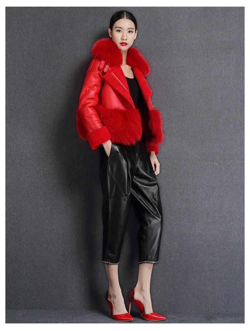 genuine sheep leatherskin jacket fox fur cooar coats (14)