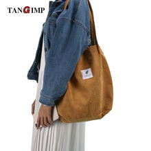 TANGIMP Corduroy Handbags Vintage Shoulder Bag with Patch Eco Autumn Winter Ethnic Women Ladies Shopping Bags Tote bolsa compra(China)
