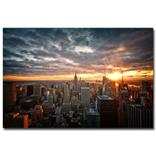 NICOLESHENTING Sunset - New York City Night Art Silk Fabric Poster Print 12x18 24x36 inch Cityscape Wall Picture Home Room Decor