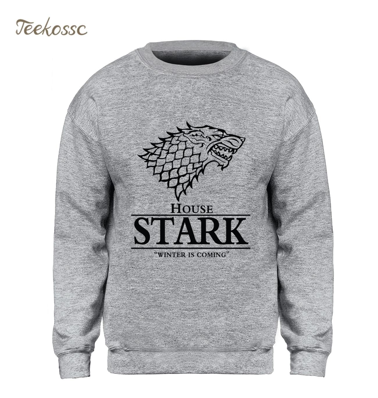 Game of Thrones Sweatshirt Men House Stark Hoodie A Song of Ice and Fire Crewneck Sweatshirts Fleece Warm Wolf Streetwear Mens