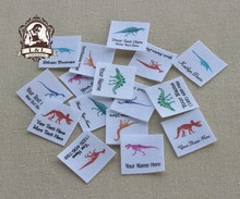 96 Custom logo labels,children's clothing tags, Name   Tags, white organic cotton labels, Skeletal dinosaurs labels,   iron on