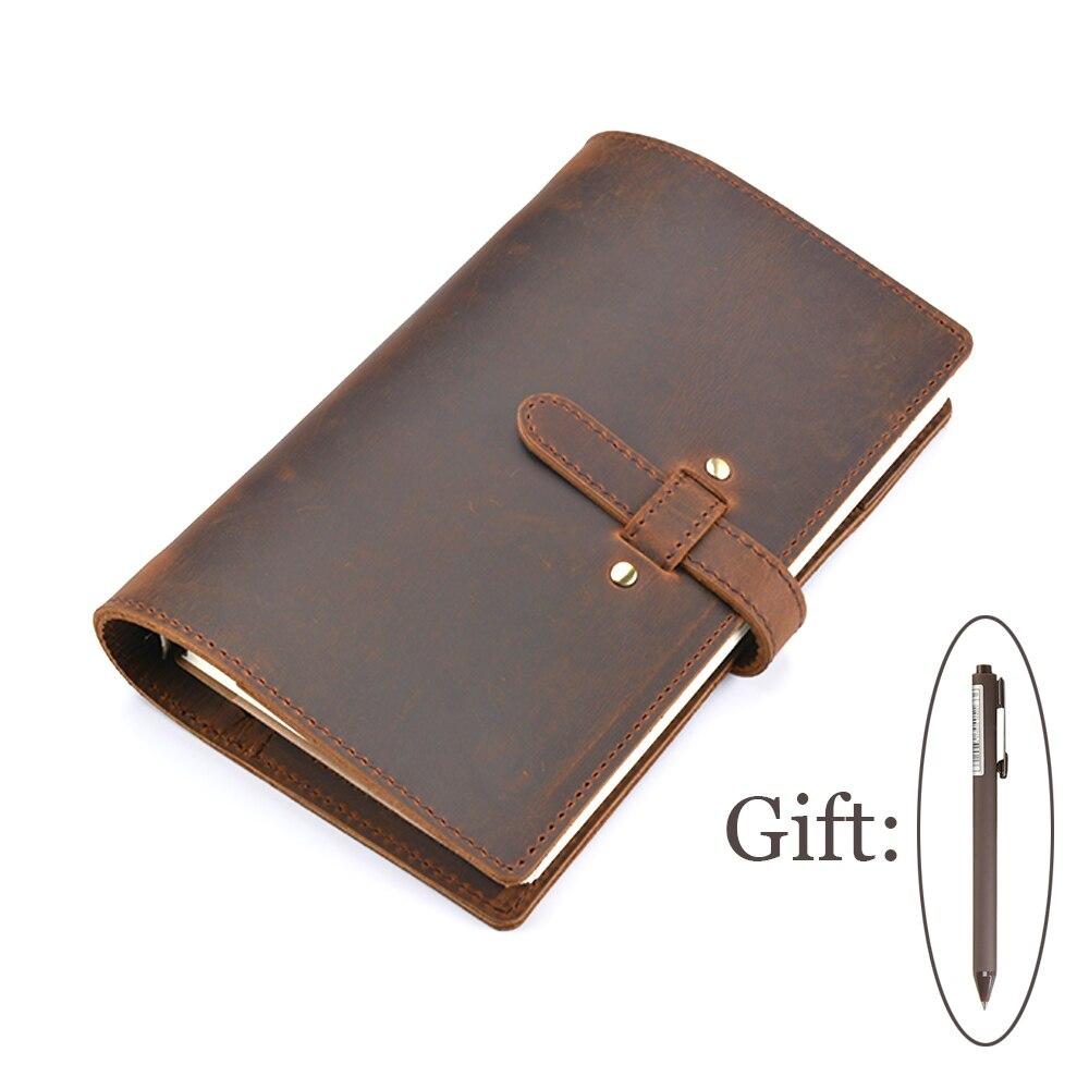 Moterm Vintage Genuine Leather Notebook Diary Travel Journal Planner Sketchbook Agenda DIY Refill Paper School Birthday Gift<br>