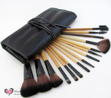 HOT 15 PCS professional name brand soft synthetic hair make up brushes cheap cosmetics makeup brush set Black wholesale