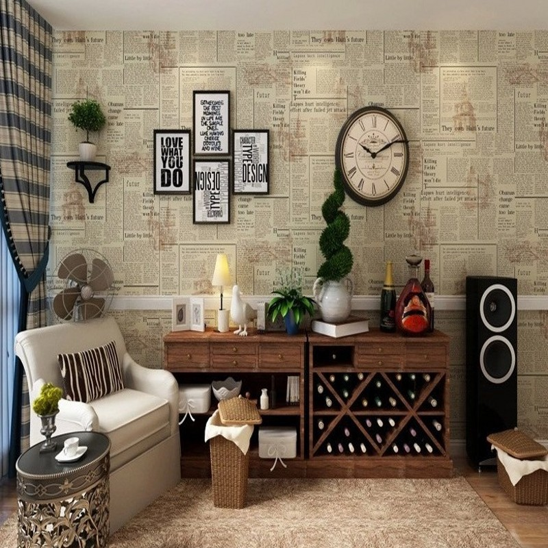 Free Shipping American Retro Old Newspaper PVC Works Wallpaper Nostalgic English Letter Bar Cafe Features Wallpaper<br>