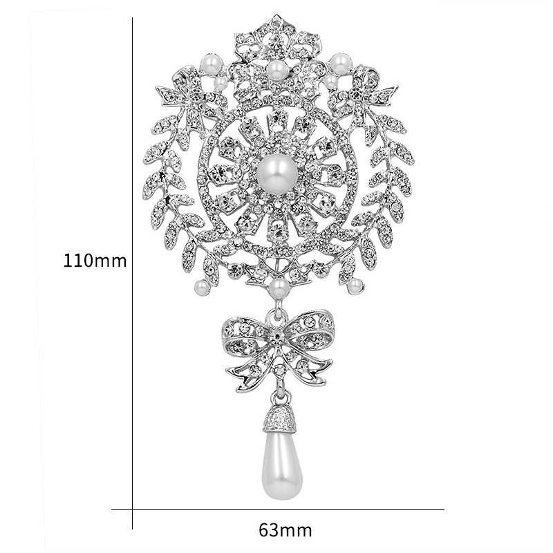 Large Size Crystal Diamante And Imitation Pearl Drop Scroll Brooches*