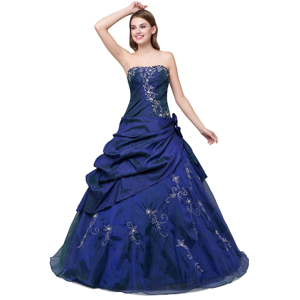 strapless-navy-blue-quinceanera-dresses
