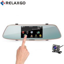 "Relaxgo 5"" Touch Screen Car DVR Dual Lens Rearview Mirror Car Camera Full Hd 1080P Night Vision Video Recorder Parking Black box(China)"