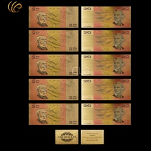 Wholesale Old Australia Colorful Gold Banknote AUD $20 Gold Plated Commemorative Paper Money with Certificate Card for gifts