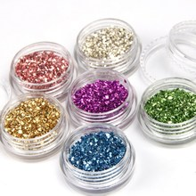 6pcs/lot Broken Glass Nail Tips Decorations Colorful Mix 3D Nail Art Supply Women DIY Manicure Tools WY661(China)