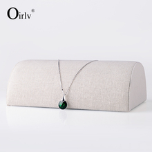 Oirlv free shipping custom wooden jewellery shop counter exhibitor beige linen necklace and bracelet display holders