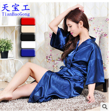 Wholesale trade silk nightgown pajamas male and female couple monochrome Japanese summer kimono cardigan solid color gown gowns
