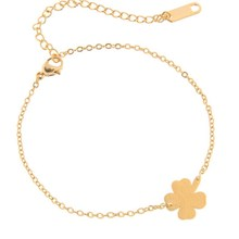 B023 Gold Silver Color Lucky Simple Four Leaf Clover Bracelet Fashion Jewelry Leaf Charm Link Chain Bracelet for Women