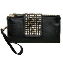 Cool Rivet Women Handbags Purses Leather Long Zipper Black Luxury Bags Clutches Wallets Bolsa Feminina