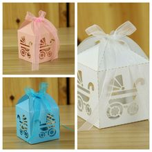 (100 Pieces/lot) Newest Baby box Laser Cut Carriage Favor Boxes For baby shower decoration candy box and baby birthday gift box(China)