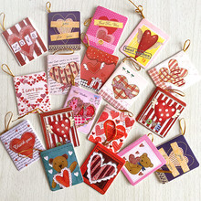 72pcs/lot cute heart design valentine day greeting message thankful paper card party decoration hanging tag(China)
