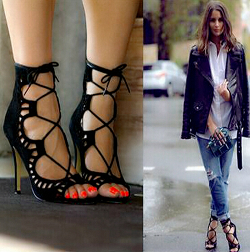 2017 Fashion Women Pumps Women Shoes Sandals Lace up High Heels Cut Outs Shoes Summer Open Toe Sapato Femininos Plus size 43<br><br>Aliexpress